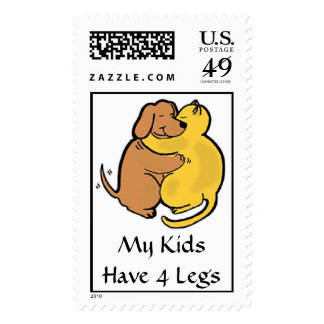 Dog & Cat Hug Postage My Kids Have 4 Legs