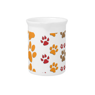 Dog & Cat Paw prints Design ~ editable background Drink Pitcher