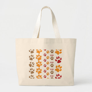 Dog & Cat Paw prints Design ~ editable background Large Tote Bag