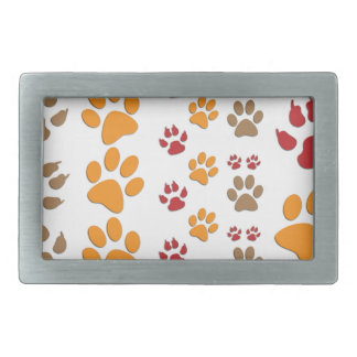 Dog & Cat Paw prints Design ~ editable background Rectangular Belt Buckle