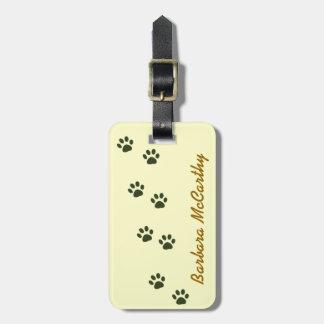 dog cat pawprints identify luggage tags