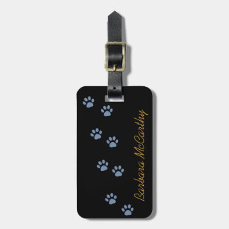 dog cat pawprints personalized bag tag
