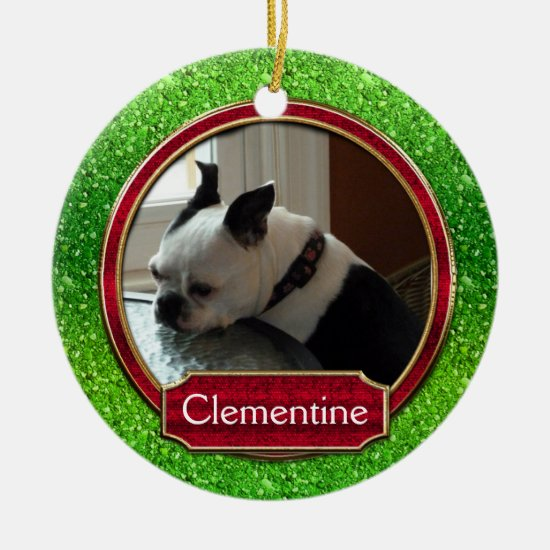 Dog Cat Photo Green Red Sparkle Christmas Ceramic Ornament