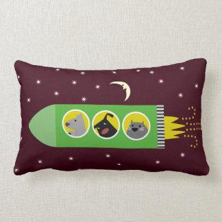 Dog & Cat Rocket Ship Throw Pillow