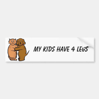 Dog & Cat Smile Bumper Sticker My Kids Have 4 Legs