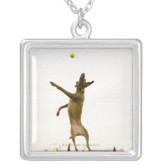 Dog catching tennis ball in mid-air silver plated necklace