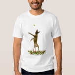 Dog catching tennis ball in mid-air t-shirts