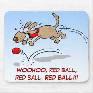 Dog chasing a red ball mouse pad