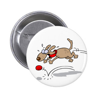 Dog Chasing A Red Ball Pinback Button