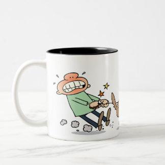 Dog chasing a squirrel Two-Tone coffee mug