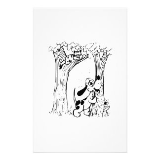 Dog Chasing Cat Up Tree Personalized Stationery