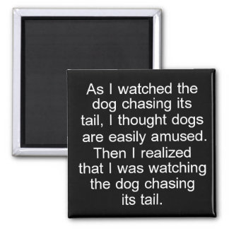 Dog Chasing Tail square magnet in black and white