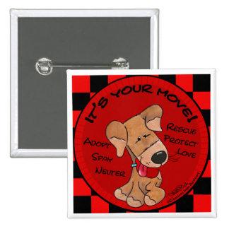 Dog Checker Board 2 Inch Square Button