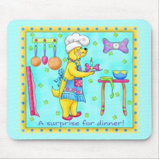 Dog Chef Cooking Dinner Art Turquoise Mousepad