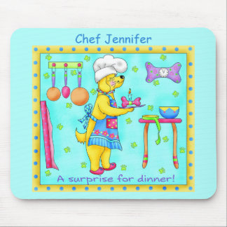 Dog Chef Cooking Dinner Art Turquoise Name Mouse Pad