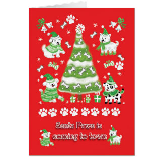 Dog Christmas Card, Santa Paws Is Comming To Town Card