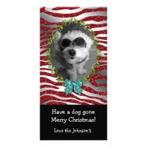 Dog Christmas Cute Photo Frame Zebra Glitter Card