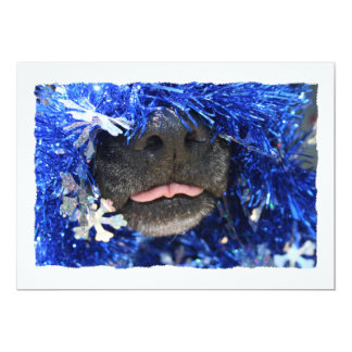 Dog Christmas Opinion Barely Tongue Simple Frame Invite