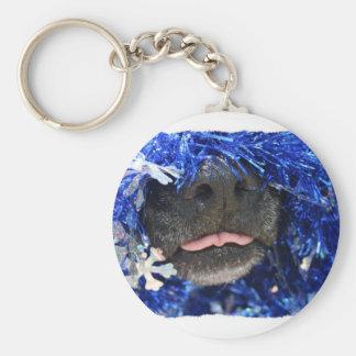 Dog Christmas Opinion Barely Tongue Simple Frame Key Chain