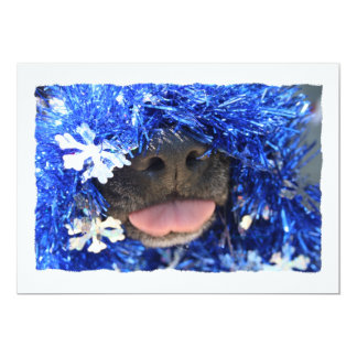 Dog Christmas Opinion Blue Tinsel Simple Frame Personalized Invitations