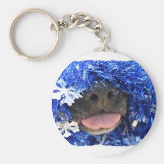 Dog Christmas Opinion Blue Tinsel Simple Frame Key Chains