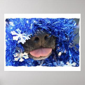 Dog Christmas Opinion Blue Tinsel Simple Frame Print