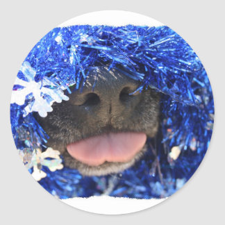 Dog Christmas Opinion Blue Tinsel Simple Frame Classic Round Sticker