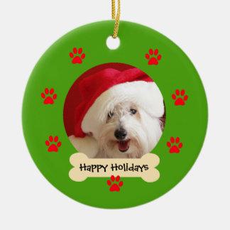 Dog Christmas Ornament - Christmas Hat on Dog
