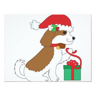 Dog Christmas Present 4.25x5.5 Paper Invitation Card