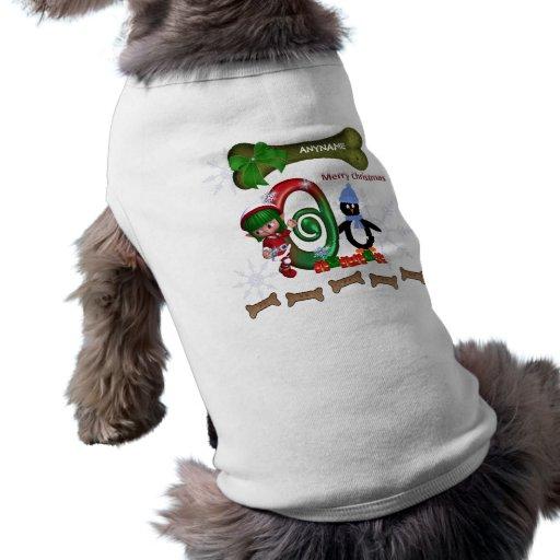 Dog Christmas Sweater Initial O Dog Tee Shirt