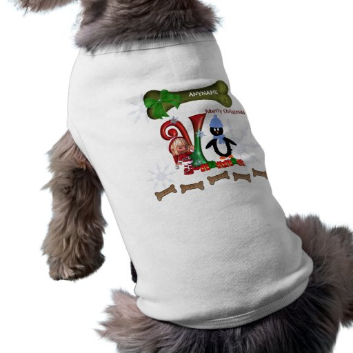 Dog Christmas Sweater Initial V Doggie Tee