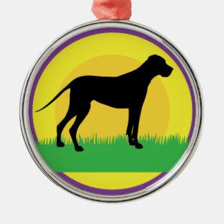 Dog Circles Metal Ornament