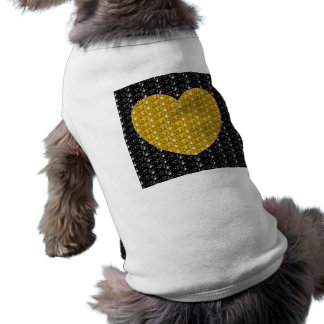 Dog Clothing Black Gold Heart Glitter