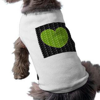 Dog Clothing Black Lime Green Heart Glitter