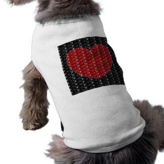 Dog Clothing Black Red Heart Glitter