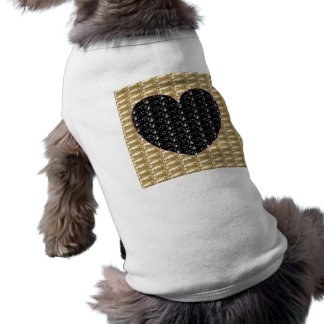 Dog Clothing Gold Ribbed Black Heart Glitter
