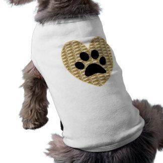 Dog Clothing Gold Ribbed Black Paw Heart.