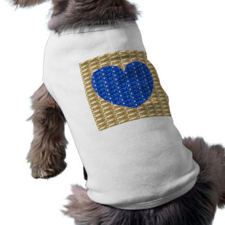 Dog Clothing Gold Ribbed Blue Heart Glitter