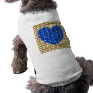 Dog Clothing Gold Ribbed Blue Heart Glitter