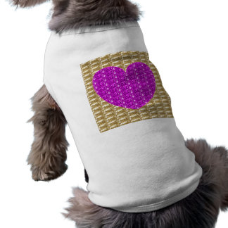 Dog Clothing Gold Ribbed Pink Heart Glitter