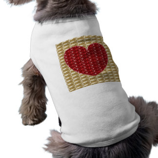 Dog Clothing Gold Ribbed Red Heart Glitter