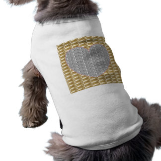 Dog Clothing Gold Ribbed Silver Heart Glitter