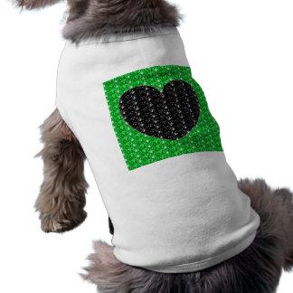 Dog Clothing Green Black Heart Glitter
