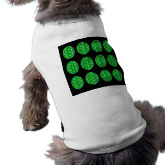 Dog Clothing Green Glitter Circles On Black