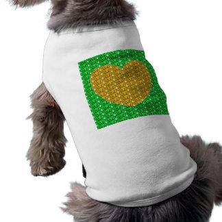 Dog Clothing Green Gold Heart Glitter