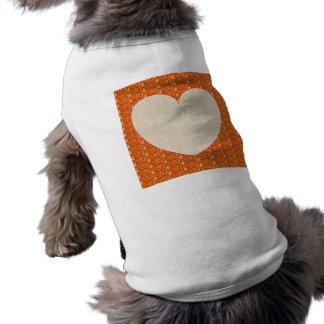 Dog Clothing Orange White Heart Glitter