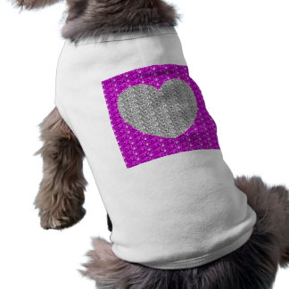 Dog Clothing Pink Silver Heart Glitter