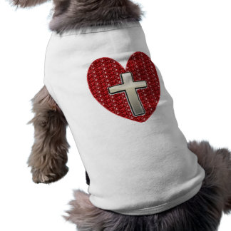 Dog Clothing Red Heart Silver Cross
