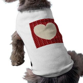 Dog Clothing Red White Heart Glitter