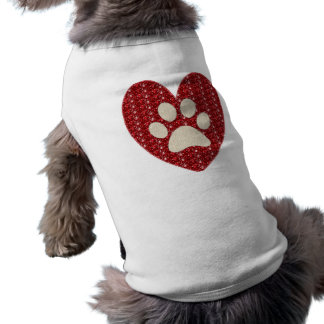 Dog Clothing Red White Paw Heart.Glitter